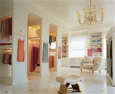 "Today's ""Dream Home"" comes to us from Julie at Belle Maison. Julie is an interior designer with a fabulous online shop, Modern Chic Home. Her passion for beautiful design is. Closet Nook, Closet Bedroom, Huge Closet, Closet Space, Master Closet, Wardrobe Room, Bedroom Bed, Master Bedrooms, Royal Bedroom"