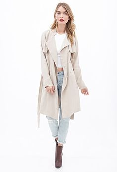 Collarless Trench Coat | Forever 21 - 2055878876
