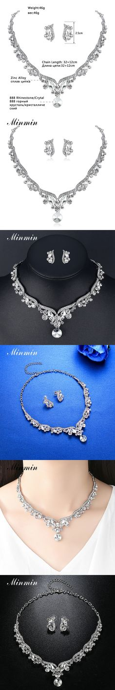 Minmin Clear Crystal Elegant Jewelry Sets for Women Necklace Long Earrings African Beads Wedding Bridal Jewelry Sets TL201