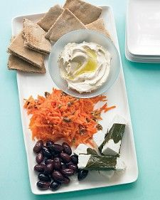 Mezze is often served as an appetizer, but several of these bits and bites together are satisfying as lunch or dinner. You'll find grape leaves in the pickles section, in the international aisle, or at specialty markets.