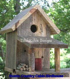 Rustic Country Cabin Birdhouse Rustic by TallahatchieDesigns