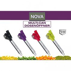 The Nova Multi-Can Opener is an original but simple can-opener that allows you to open your tins with no sharp edges, so no more cutting yourselves on those sharp cans! Bbc Good Food Show, Food Shows, Tins, Can Opener, Dishwasher, Manual, Nova, Safety, Stainless Steel