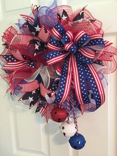 Patriotic wreath, fourth of july wreath, memorial day wreath, wreath, deco mesh Patriotic Wreath, Patriotic Crafts, July Crafts, 4th Of July Wreath, Wreath Crafts, Diy Wreath, Wreath Ideas, Burlap Wreaths, Yarn Wreaths
