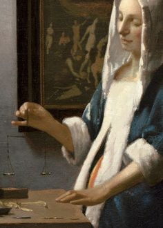 Johannes Vermeer: Woman Holding a Balance (detail), c.1664.