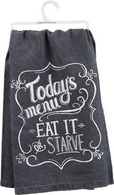 "Primitives By Kathy Tea Towel- ""Today's Menu Eat It or Starve (aff link) Dish Towels, Hand Towels, Tea Towels, Vinyl Crafts, Vinyl Projects, Towel Crafts, Inexpensive Wedding Venues, Flour Sack Towels, Textiles"
