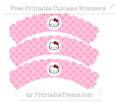 Free Carnation Pink Polka Dot  Hello Kitty Scalloped Cupcake Wrappers
