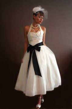 1950s Wedding Dress in Dark Ivory - Sophie. Make as bridesmaid dresses in pale blue and red
