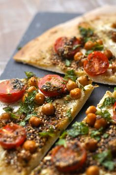 Todays Slice Ya'll! - Lebanese style pizza. To make vegan omit cheese. Either use a vegan cheese or hummus would work here too.