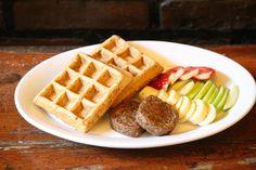 Super Seed Waffles #chia #hemp #flax #speltflour #soysausage #fruit #organic #vegan #superfoods #superseeds #organic #veggie #green #homemade #eastvillage #vegan #nyc #eco