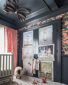 "Behind the crib is a swath of bright drapery fabric from LULU DK's new children's fabric line for Schumacher, while vintage oil portraits are tacked onto the closet door with nail heads for a more casual look. Tamara believes that kids are never too young to start appreciating art, so while the artist of these prints is unknown, she loves the ""Mark Ryden meets Tim Burton feel"" of them. Photos courtesy of: Marco Ricca"