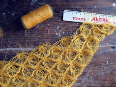 crochet variant of broomstick lace made with goat hair and a ruler