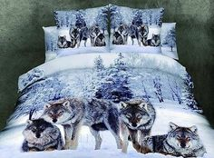 3D 100 Cotton 4 Pcs Bed Quilt Duvet Cover Set Beast Animal Wolf Queen King Size | eBay