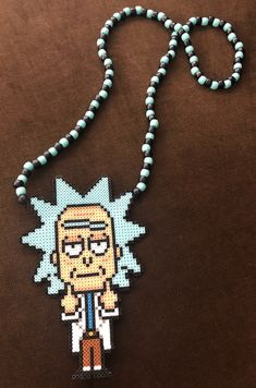Excited to share this item from my shop: Tiny Rick - Candy Ideas Melty Bead Patterns, Pearler Bead Patterns, Perler Patterns, Beading Patterns, Diy Perler Bead Crafts, Diy Perler Beads, Perler Bead Art, Rave Candy, Rave Bracelets