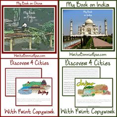 Geography copywork for kids on India and China