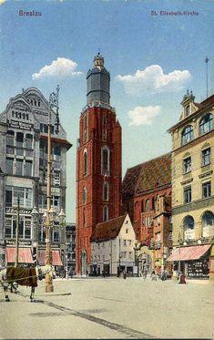 GD 28 Breslau St. Elisabeth-Kirche (Wrocław. Bazylika gotycka p.w. św. Elżbiety Węgierskiej z lat 1309-87. Widokówka z 1915 roku) Perspective Art, Art Of Love, Old Photographs, City Maps, Beautiful Buildings, Warsaw, Old Town, Big Ben, Postcards