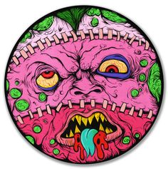 """MONSTERHEAD"" by Aaron Crawford Ink and Acrylic on canvas http://cavitycolors.com"