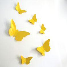 "Stickers papillons reliefs tendances "" Jaune"""