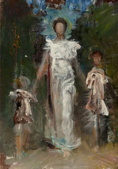 """""""Preliminary Study for 'A Virgin',"""" Abbott Handerson Thayer, oil on canvas, 13 x 9-1/2"""", private collection."""