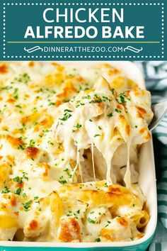 Dump and Bake Chicken Alfredo Pasta Casserole is an easy one pot meal -- and you don't even have to boil the pasta! Baked Pasta Recipes, Cooking Recipes, Baked Pasta Dishes, Chicken Pasta Dishes, Pasta Recipes For A Crowd, Recipes Dinner, Casseroles With Chicken, Meals For A Crowd, Chicken And Cheese Recipes