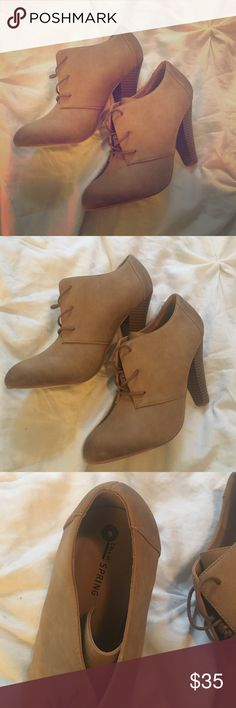 Tan booties Super cute lace up booties with a 50s vibe. Never worn as they were too small. Call It Spring Shoes Ankle Boots & Booties