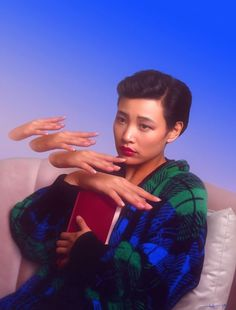 "eliciadonze:"" 1990 by Elicia Donze. Drawn in PS. Please do not remove caption.[Caption: A realistic digital painting of Joan Chen as Josie from Twin Peaks. Portrait is from the waist up. Josie is seated on a dusty pink velvet sofa. She's wearing a. Photomontage, Joan Chen, Shows, Looks Cool, Vaporwave, Pretty People, Dark Side, Portrait Photography, Photography Basics"