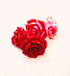 Red & Pink Rosebud Stud Earrings in Glazed Acrylic Tiny Stud Earrings, Red Earrings, Flower Earrings, Plastic Flowers, Funky Jewelry, 80s Fashion, Rose Buds, Red And Pink, Pink Roses