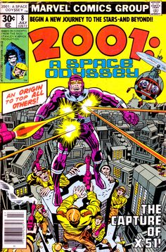 Machine Man, created by Jack Kirby, made his first appearances in Marvel's 2001: A Space Odyssey licensed series, going by the names X-51 and Mister Machine before moving into mainstream Marvel continuity.