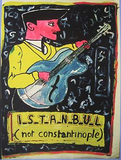 Robert Combas - Istanbul (not Constantinople), When Constantinople was renamed to Istanbul, people around the world were encouraged to remember and become familiar with the new name when all post addressed to Constantinople was returned to sender! Les Themes, New Names, Ottoman Empire, People Around The World, Violin, Istanbul, Behance, Illustration, Travel