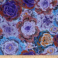 Kaffe Fassett Collective Brassica Dark from @fabricdotcom  Designed by Kaffe Fassett for Westminster, this cotton print collection is perfect for quilting, apparel, and home decor. Colors include saturated shades of purple, rust, and blue.