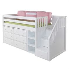 The Great Low Loft Bed with Dressers, Bookcase and Staircase is a fun and functional loft for your child!