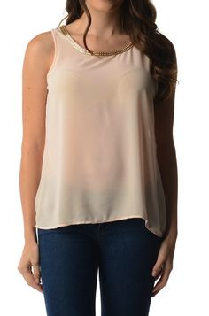 Navy Chain Collared Surplice Back Top #wholesale clothing #womens ...