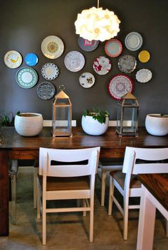 This is EXACTLY my wall color, my table style and I have my collection of Fiesta Ware..wall display, here I come!                                                                                                                                                                                 More
