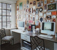 Computer Desk with Cork Art Wall: from Elle Decor March 2010