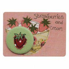 Strawberries and cream - pretty badge - badges - Kids