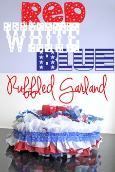 Red White and Blue Ruffled Garland