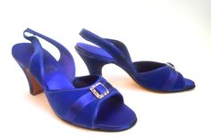 late 1930s cobalt blue satin and velvet Daniel Green boudoir slippers with deco rhinestone trim, personal collection