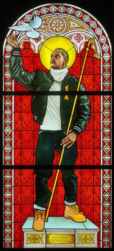 Kehinde Wiley (American, b. Saint Remi, Stained glass, 96 × in. Courtesy of Galerie Daniel Templon, Paris. American Art, European Art, Kehinde Wiley, Museum Of Fine Arts, Art, African American Art, Artsy, Figurative Art, Art History