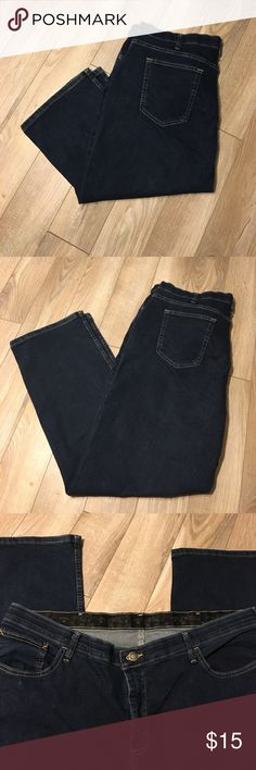 "Riders by Lee size 22W med plus size Stretch Denim, inseam 30"", dark denim Relaxed Fit Sits Just Below Waist, eased hip and thigh Straight Leg Opening Clean Back Pockets Floating Watch Pocket, EUC, no rips or extreme wear. Comes from smoke free home. Riders by Lee Jeans Straight Leg"