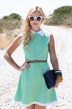 VTG 1960s 60s Mod Green Checkered Sleeveless Dress w/ Collar