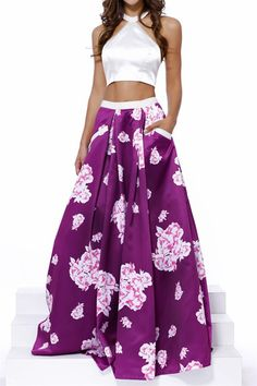 White/Plum Floral Halter Two Piece Prom Dress