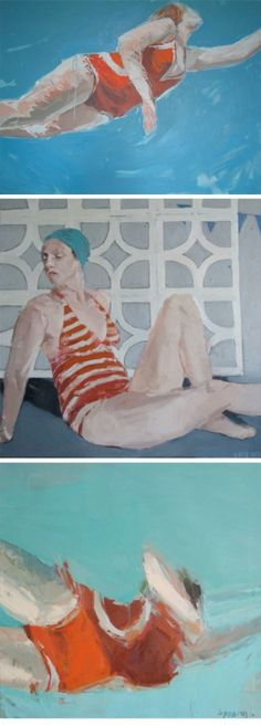 Samantha French Paintings: I want to be swimming in a red bathing suit and looking this dreamy. by gilda