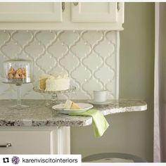 beveled arabesque tile backsplash
