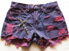 High Waist Studded Jean Shorts, Cross Design  Find all our Custom Designs at Minkus Margo on Etsy and Ebay