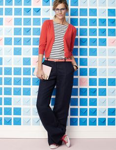 Stripes + Coral cardigan + navy pants...Love this combination