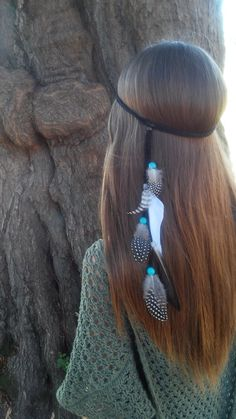 Stunning Native American Style Bohemian Rooster and Spotted Guinea Hen Feather Turquoise Headband    Elegant Rooster and Guinea Hen Feathers Drape