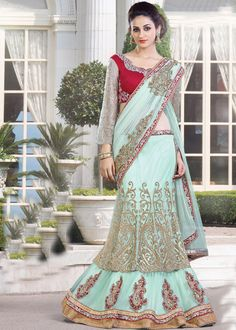Look trendy and #beautiful in this Aqua #blue net #saree along with #satin lining.