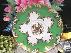 ROYAL-CHELSEA-TEA-CUP-AND-SAUCER-GREEN-amp-GOLD-GILT-PATTERN-TEACUP