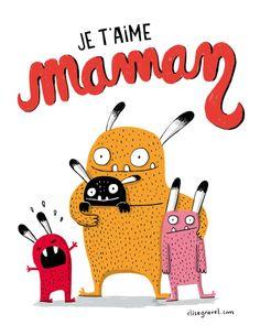 """""""I love you, Mom"""" by Elise Gravel Cute Monster Illustration, Children's Book Illustration, Elise Gravel, Illustration Mignonne, Love U Mom, Web Design, Cute Monsters, Monster Art, Kids Prints"""