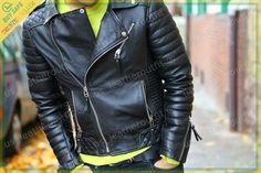 New Mens Genuine Lambskin Leather Jacket Black Slim fit Biker Motorcycle Best Leather Jackets, Leather Jacket Outfits, Lambskin Leather Jacket, Leather Skin, Black Leather, Real Leather, Biker Leather, Custom Leather, Handmade Leather