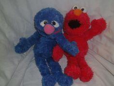 "Sesame Street Grover & Elmo - 14"" beanie soft toys from Gund 2002"